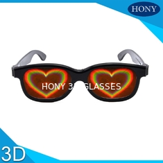ABS Frame Heart 3D Diffraction Glasses Black Frame for wedding party