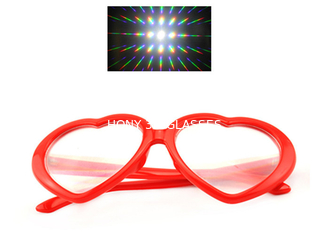 Red Heart Frame Plastic Diffraction Fireworks 3D Rainbow Glasses For Party