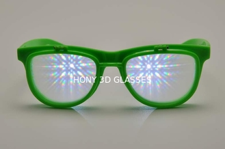 Green Frame Plastic Diffraction Glasses , Flip Up Fireworks Glasses