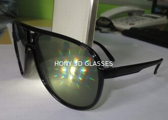 Black Plastic Diffraction Glasses , 13500 Lines Emerald Firework Glasses