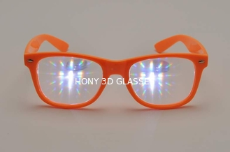 Purple Frame Plastic Diffraction Glasses  Style , Rainbow Prism Glasses