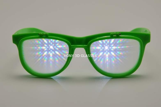 چین Green Frame Plastic Diffraction Glasses , Flip Up Fireworks Glasses کارخانه