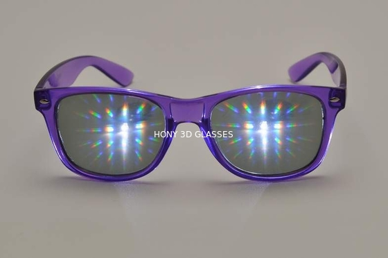 چین Purple Frame Plastic Diffraction Glasses  Style , Rainbow Prism Glasses کارخانه